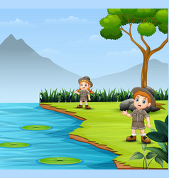 Scout kids talking and exploring in nature landsca vector