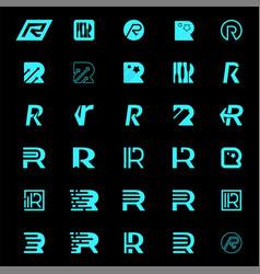 set letter r logo design template elements vector image