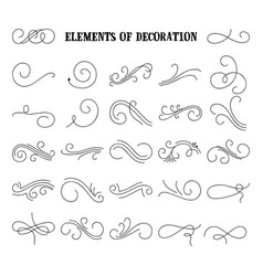 Set of hand drawn flourish elements vector
