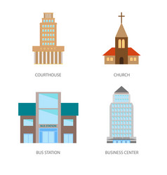 Set of urban buildings in a flat style courthouse vector