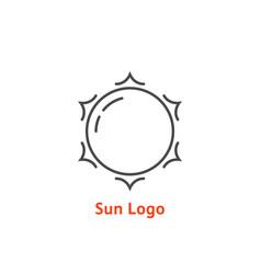 Simple thin line sun logo vector