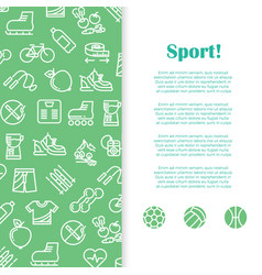 sports and fitness banner template with line icons vector image