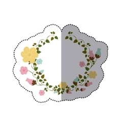 Sticker half ornament creepers with flowers vector