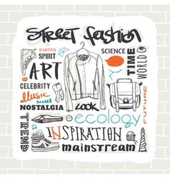 Street fashion set vector image