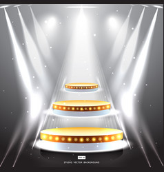 Studio background with lighting and gold podium vector