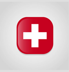 switzerland flag design round button vector image