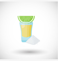 tequila shot with lemon and salt flat icon vector image