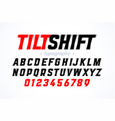 Tilt shift lens style font with blur effect vector