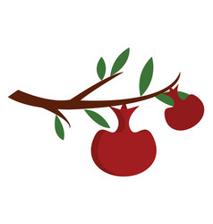 two red apples on a brown tree branch with green vector image
