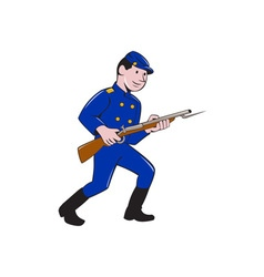 Union Army Soldier Bayonet Rifle Cartoon vector