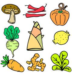 Vegetable set doodles vector