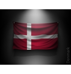 waving flag denmark on a dark wall vector image