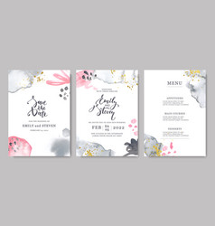 wedding invitations with watercolor stains vector image