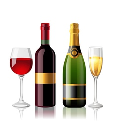 wine and champagne vector image