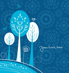 Winter cartoon background with trees and birds vector image