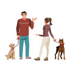 young people talking while walking their dogs vector image