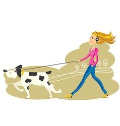 Young woman walking dog vector