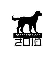 2018 year of the dog silhouette pet black white vector image