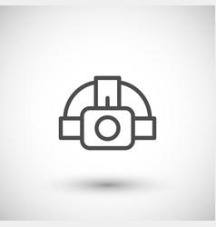 head flashlight line icon vector image