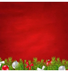 Retro Red Background And Fir Tree Border vector image vector image