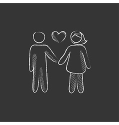 Couple in love Drawn in chalk icon vector image