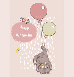 cute reddy bear with balloons vector image