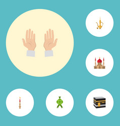 flat icons minaret pitcher palm and other vector image vector image