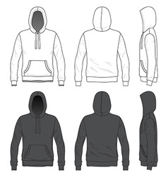 Front back and side views of blank hoodie vector image vector image