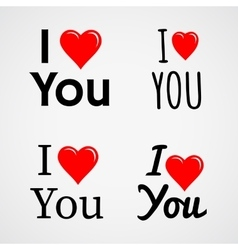I love you with red heart sign set vector image vector image