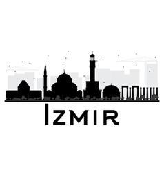 Izmir City skyline black and white silhouette vector image vector image