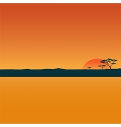 Landscape with sunset in desert vector image vector image