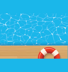Red pool ring and swimming pool summer background vector