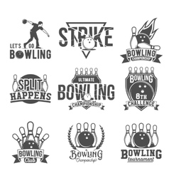Set of bowling emblems labels badges and vector image vector image