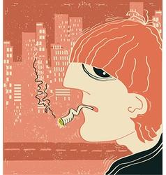 Smoking man in big city vector image