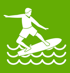 surfer icon green vector image vector image