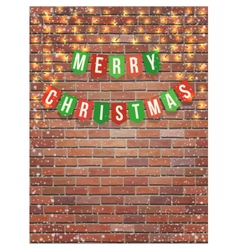merry christmas garland on red brick wall vector image