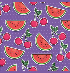 seamless pattern of patches with fruits vector image