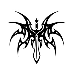 Winged sword tattoo vector image vector image