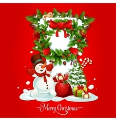 Christmas card with snowman gift and xmas wreath vector image vector image