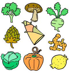 doodle of fresh vegetables various set vector image