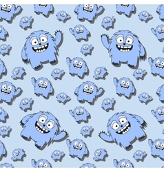 Funny seamless pattern with cartoon monsters vector image vector image