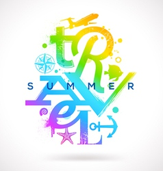 Summer travel multicolored type design vector image vector image