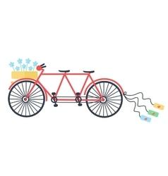 Wedding Vintage tandem bicycle icon vector image vector image