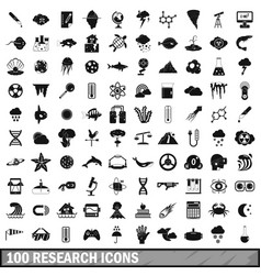 100 research icons set simple style vector