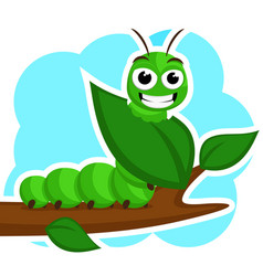 A caterpillar smiles and eats a green leaf on a vector