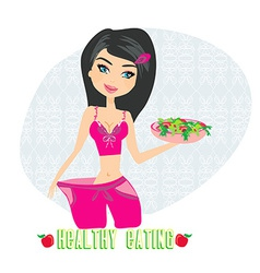 a young woman in a large pants after diet vector image