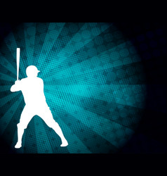 baseball player silhouette on abstract vector image