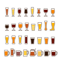 Beer in glasses and mugs different types icon vector