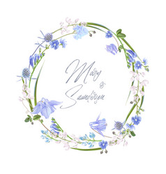 Blue herb wreath vector