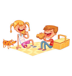 boy and girl eating sandwiches on picnic vector image